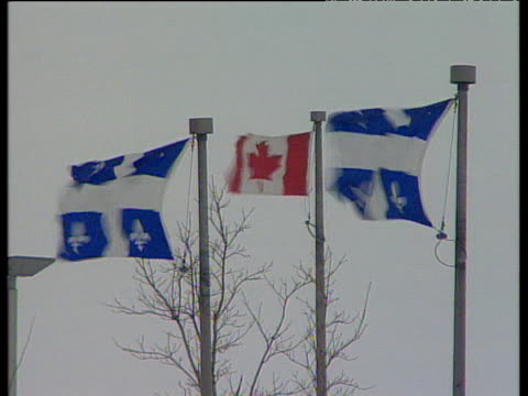 vídeos y material grabado en eventos de stock de canada and quebec flags on flag poles flutter in strong winds - quebec