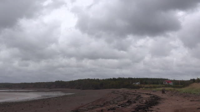 Canada Bay of Fundy beach and cloudy sky time lapse pan