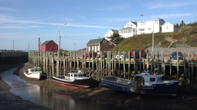 canada bay of fundy boats docked at halls harbour clouds low tide - low tide stock videos & royalty-free footage