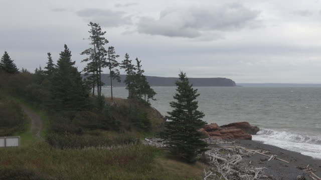 Canada Bay of Fundy interesting coastal view zoom out