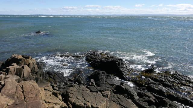 Canada Bay of Fundy looking beyond rocks zoom in