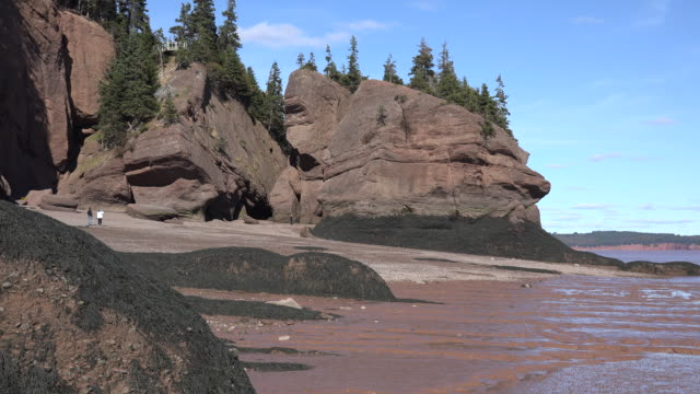 Canada Bay of Fundy rocks at low tide with people