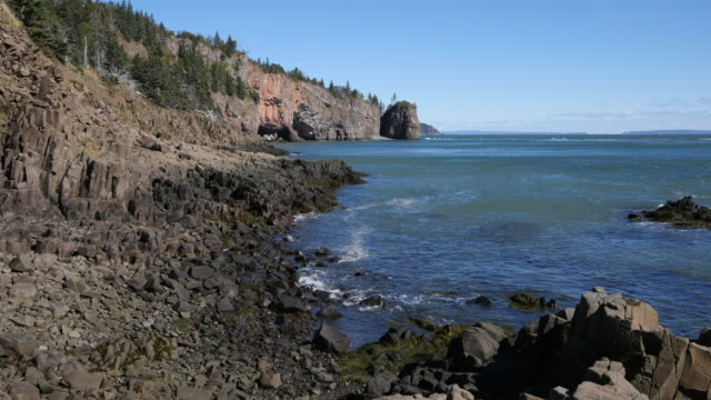 canada bay of fundy tide ebb on rocks 12 second time lapse - tide stock videos & royalty-free footage