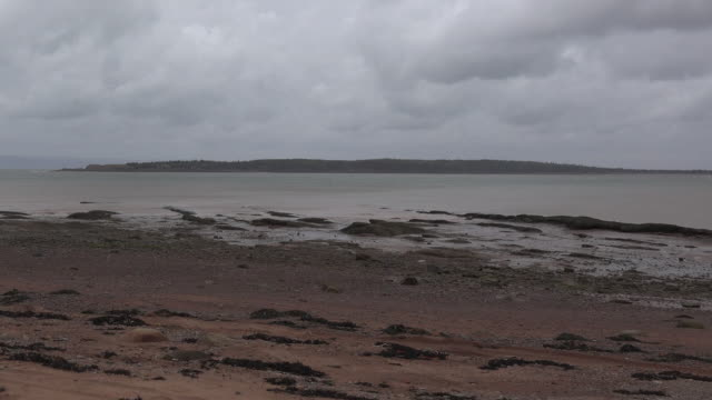 Canada Bay of Fundy view with sandy beach pan