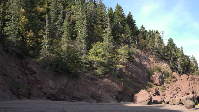 canada cliffs and rocks at hopewell rocks - atlantic ocean stock videos & royalty-free footage