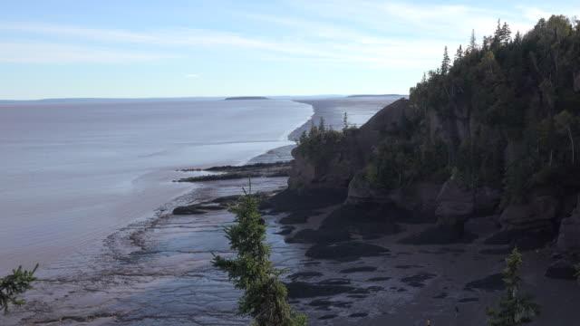 canada coastal view at hopewell rocks - atlantic ocean stock videos & royalty-free footage
