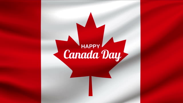 canada day waving flag loop. 4k animation. - bandiera del canada video stock e b–roll
