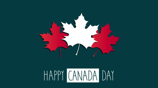 canada day with maple leaf. 4k animation. - poster template stock videos and b-roll footage