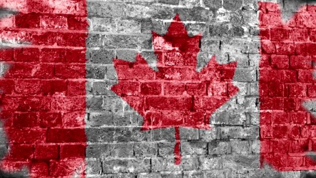 vídeos y material grabado en eventos de stock de canadá bandera grunge pared. 4k - bandera de canada