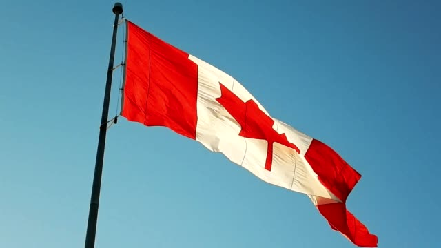 canada flag waving in the sky - canada flag stock videos & royalty-free footage