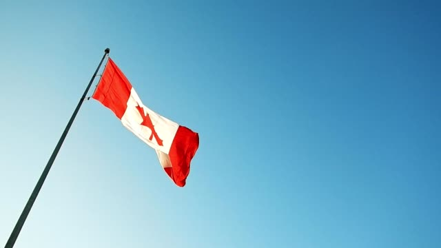 canada flag waving in the sky - bandiera del canada video stock e b–roll