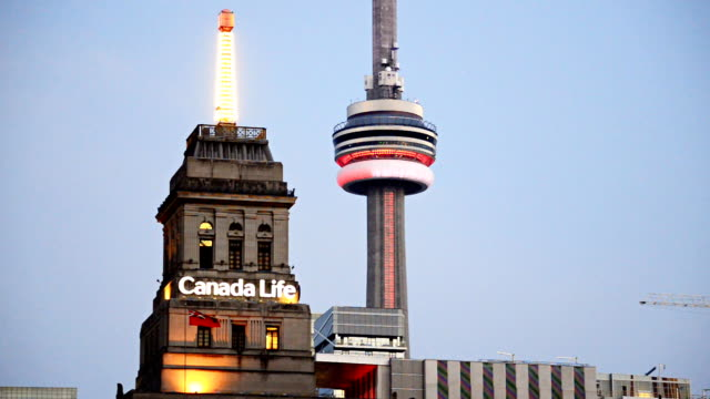 Canada Life Building and the CN Tower, two major Toronto landmarks