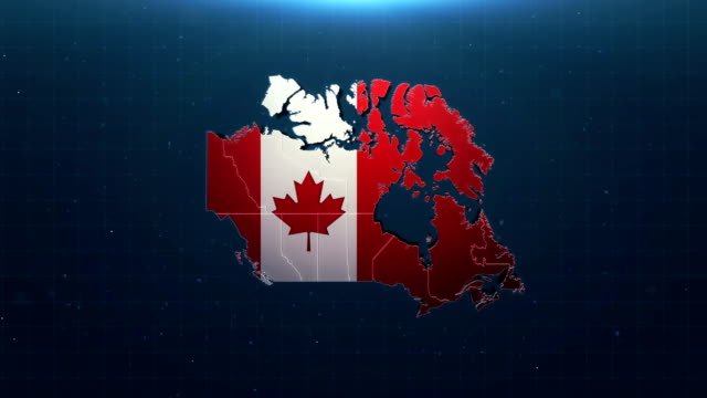4k canada map with national flag - bandiera del canada video stock e b–roll