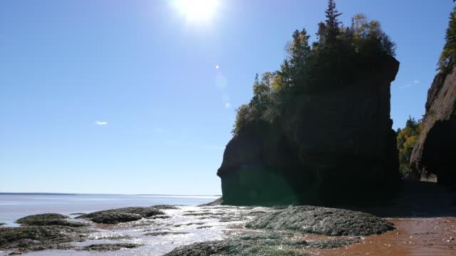 vídeos y material grabado en eventos de stock de canada new brunswick hopewell rocks low tide with sun spots zoom and pan - mancha solar