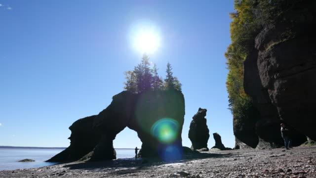 vídeos y material grabado en eventos de stock de canada new brunswick hopewell rocks people and green sun spots - mancha solar