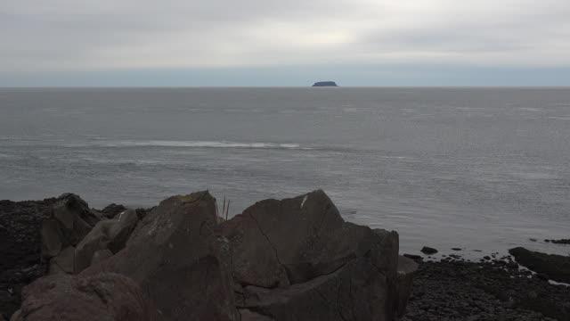 Canada Nova Scotia Bay of Fundy on gloomy day pan