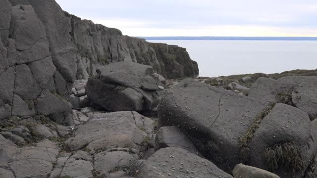 Canada Nova Scotia Bay of Fundy seen beyond rocks pan