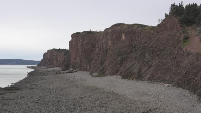 Canada Nova Scotia cliffs along Bay of Fundy beach pan