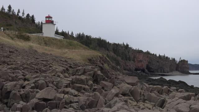 Canada Nova Scotia distant lighthouse pan