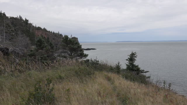 Canada Nova Scotia grassy hill above Bay of Fundy zoom out