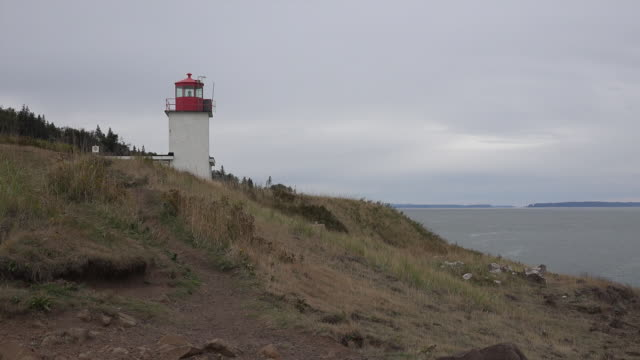 Canada Nova Scotia lighthouse on hill above Bay of Fundy zoom in