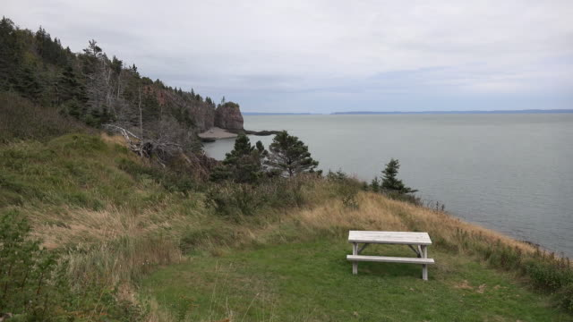 Canada Nova Scotia picnic bench above Bay of Fundy