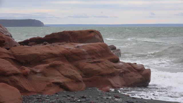 Canada Nova Scotia red sandstone on coast