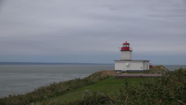 Canada Nova Scotia small lighthouse above Bay of Fundy