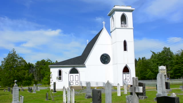 canada peggy's cove nova scotia saint peter's anglican church 1870 with cemetery in glen margaret near peggy's cove - anglican stock videos & royalty-free footage