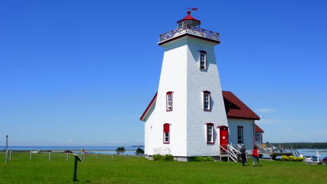 canada prince edward island, p.e.i. wood islands lighthouse 1876 in summer - prince stock videos and b-roll footage