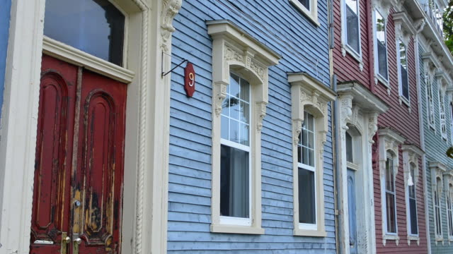 Canada Saint John New Brunswick old weathered homes and doorways of wood Victorian houses on Rue Union