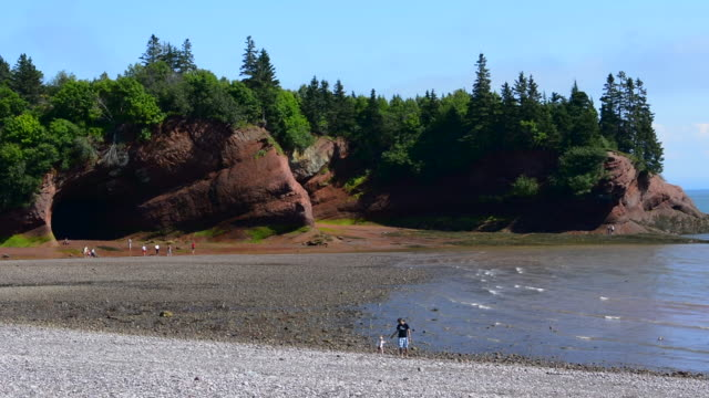 Canada St Martins New Brunswick beach called Macs Beach with wall caves in the Fundy Trail
