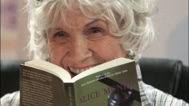 canadas alice munro won the nobel literature prize on thursday for her short stories that focus on the frailties of the human condition clean canadas... - nobel prize in literature stock videos & royalty-free footage