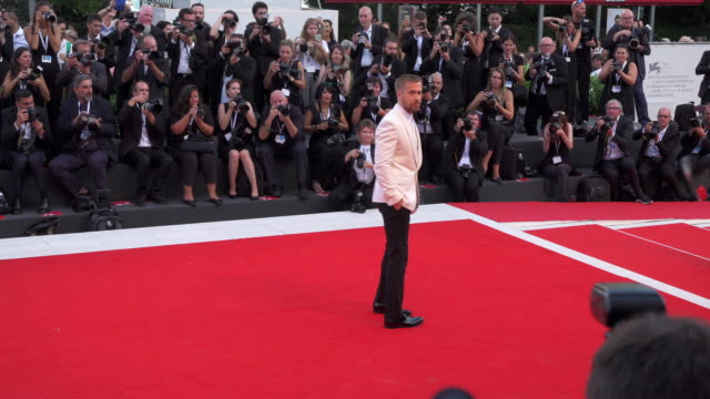 canadian actor ryan gosling shines on the red carpet of 'first man' during the 75th venice film festival on august 29 2018 in venice italy - ryan gosling stock videos and b-roll footage