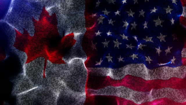 canadian and american flag - bandiera del canada video stock e b–roll