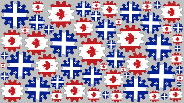 canadian and quebec flag gears spinning background - quebec flag stock videos & royalty-free footage