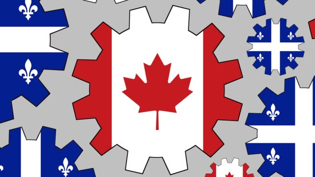 canadian and quebec flag gears spinning background zooming out - quebec flag stock videos & royalty-free footage