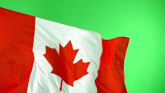 Canadian Kanada Flagge auf green-Screen, Super-Slow-Motion