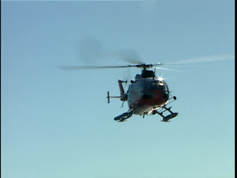 zo ws canadian coast guard helicopter landing on ship deck, greenland - helicopter landing stock videos and b-roll footage