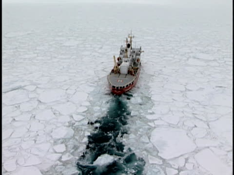 LOW AERIAL, Canadian Coast Guard Ship Henry Larsen in pack ice, Labrador Sea, Labrador, Canada
