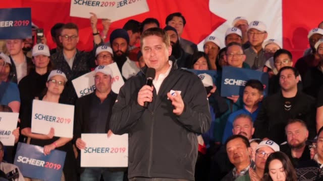 canadian conservative leader andrew scheer holds a rally in richmond a final campaign stop ahead of monday's election - election stock videos & royalty-free footage