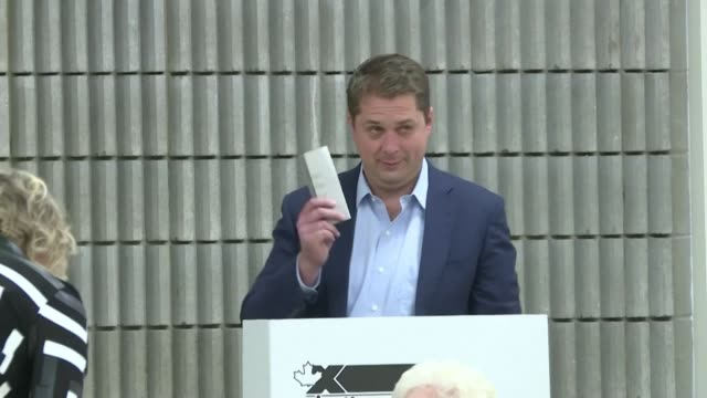 canadian conservative leader andrew scheer who is challenging liberal prime minister justin trudeau in the country's federal election casts his... - saskatchewan stock videos and b-roll footage