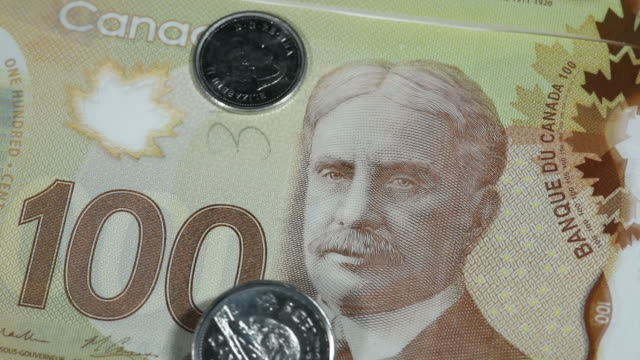 canadian currency and usd in toronto ontario canada on friday july 27 2018 - männliche figur stock-videos und b-roll-filmmaterial