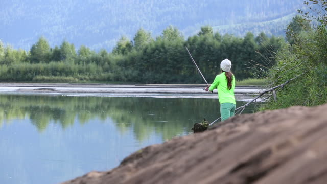 Canadian Female Aboriginal fishing