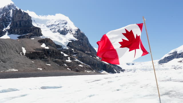 kanadische flagge im columbia icefield im jasper nationalpark, kanada - flagge stock-videos und b-roll-filmmaterial