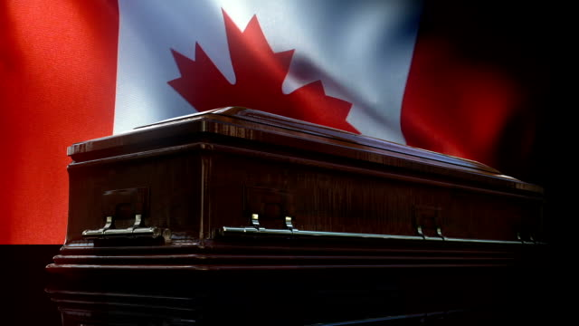 canadian flag behind coffin - coffin stock videos & royalty-free footage