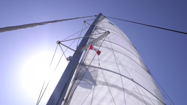 canadian flag flaps in wind above sailboat - swaying stock videos & royalty-free footage