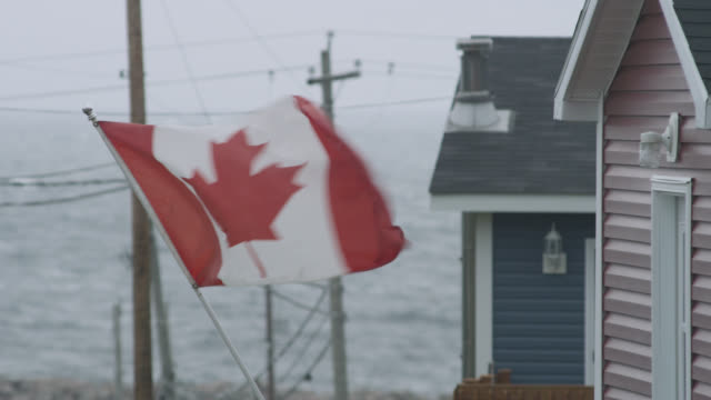 """canadian flag flutters in wind, nova scotia, canada - """"bbc natural history"""" stock videos & royalty-free footage"""