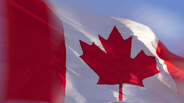 canadian flag flying in the wind - digital enhancement stock videos & royalty-free footage