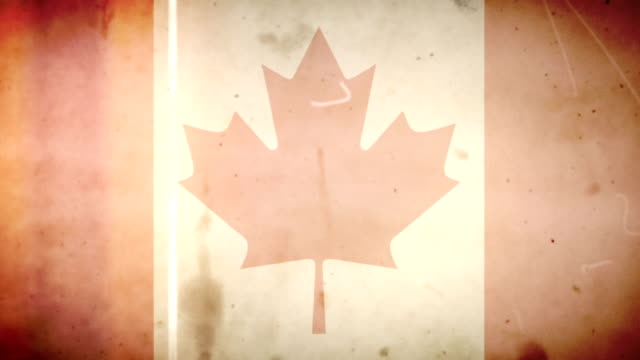 Canadian Flag - Grungy Retro Old Film Loop with Audio